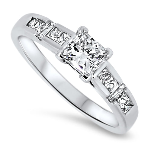 0.80ct Princess & Baguette Cut Diamond Engagement Style Ring in 18k White Gold