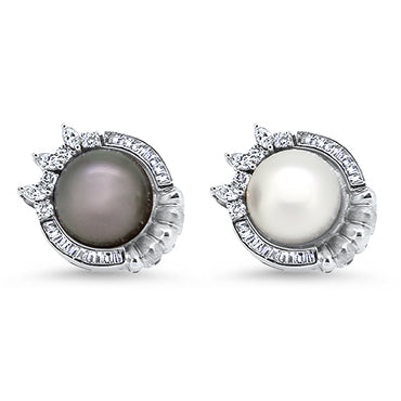 1.60cts South Sea Pearl and Diamond Fancy Handmade Earrings set in 18k White Gold