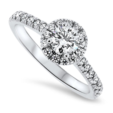 1.05ct Diamond Halo Set Engagement Style Ring in 18k White Gold