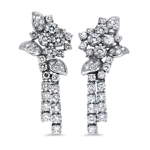 3.78ct Diamond Cluster Drop Earrings with G/H VS Diamonds in 14k White Gold