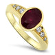 2.13ct Natural Ruby & Diamond Ring in 18k Yellow Gold