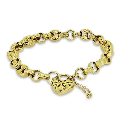 9ct Gold Unique Belcher Link Bracelet with a Heart Clasp & Safety Chain