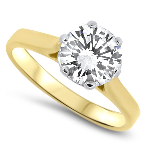 1.50ct Diamond Solitaire Handmade Engagement Ring in 18k Yellow Gold