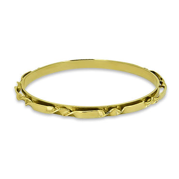 9ct Yellow Gold Patterned Round Bangle