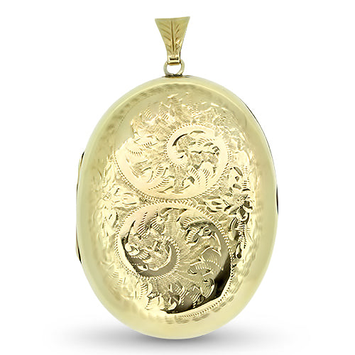9ct Yellow Gold Oval Shaped Patterned Locket