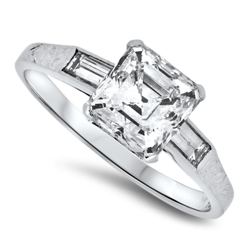 1.90ct Emerald Cut Diamond Antique Handmade Platinum Ring