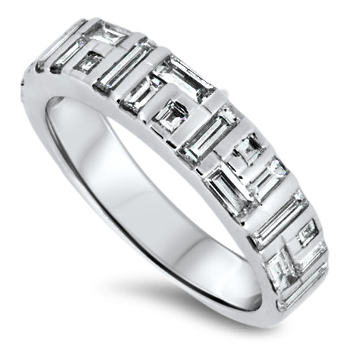 1.60ct Diamond Cluster Band with E/F VVS Diamonds set in 18k White Gold Handmade Ring