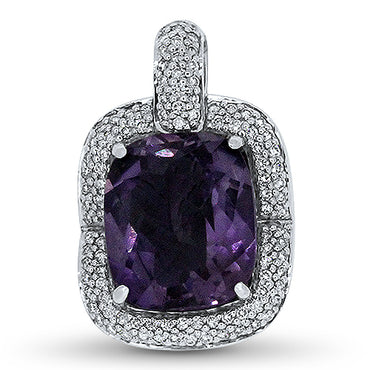 9.54ct Amethyst and Diamond Pendant in 18k White
