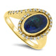 2.40ct Black Lightning Ridge Solid Opal and Diamond Handmade Ring