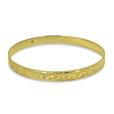 9ct Gold Round Patterned Bangle