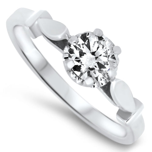 0.48ct Diamond Solitaire Engagement Style Ring in 18k White Gold