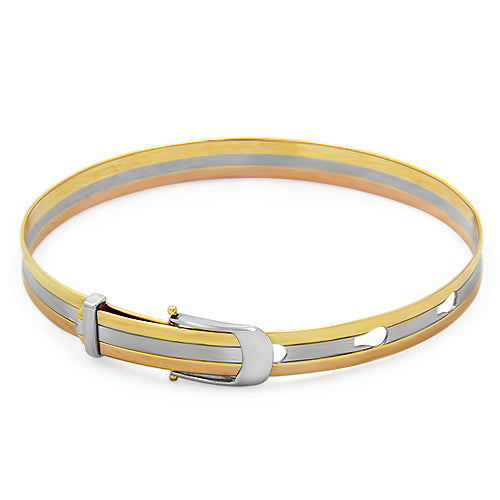 18ct Gold 3 Toned Belt Style Bangle