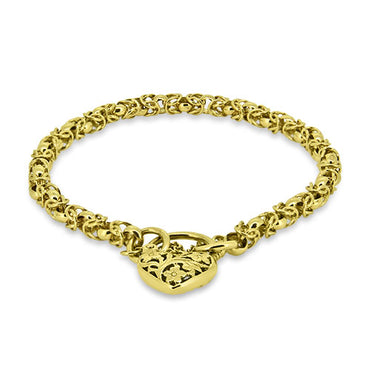9ct Yellow Gold Unique Link Heart Padlock Bracelet