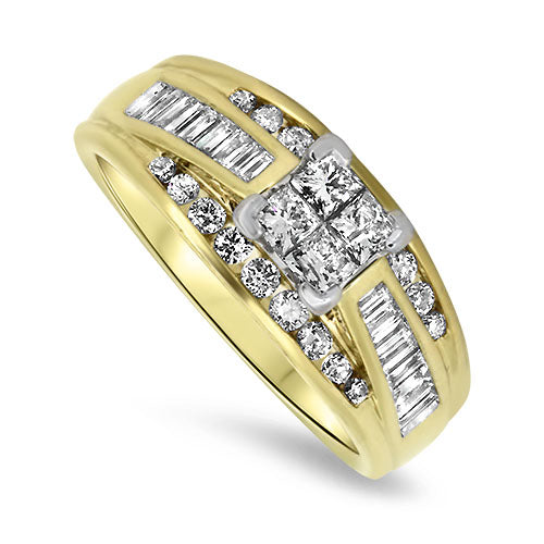 1.26ct Diamond Cluster Ring in 14k Yellow & White Gold