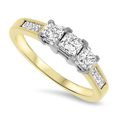 0.82ct Diamond Trilogy Style Ring with Princess Cut Diamonds in 18k Yellow Gold