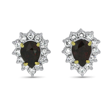 2.72ct Natural Ruby & Diamond Stud Earrings in 18k Yellow & White Gold