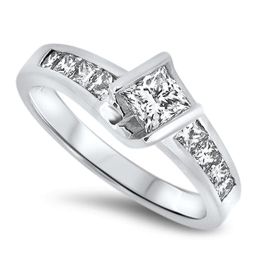 1.00ct Diamond Engagement Style Ring with Princess Cut Diamonds in 18k White Gold