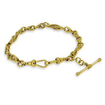9ct Gold Antique Fob Style Bracelet in Yellow Gold