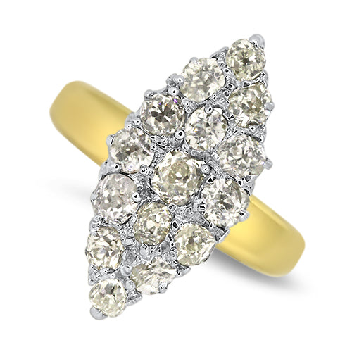 Marquise Shaped Diamond Cluster Ring in 18ct Yellow & White Gold