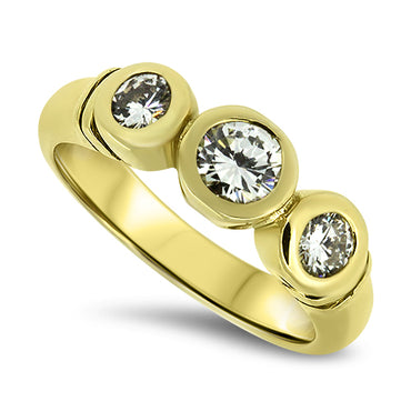 0.76ct Diamond Handmade Trilogy Style Ring in 18k Yellow Gold