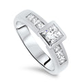 1.30cts Princess Cut Diamond Handmade Engagement Ring with a 0.70ct Princess Cut Centre Diamond