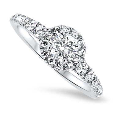 0.85ct Diamond Halo Set Ring in 18k White Gold