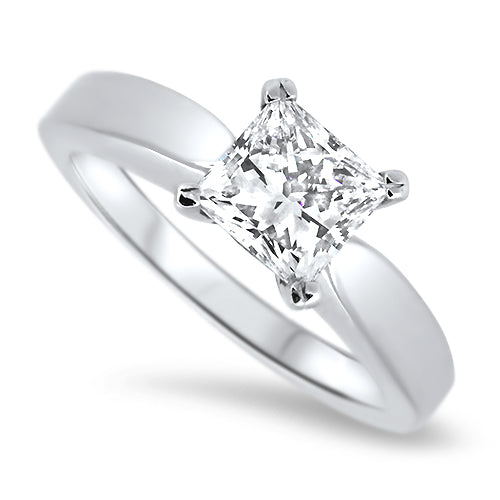 1.00ct Princess Cut Diamond Solitaire Ring Set in 18k White Gold