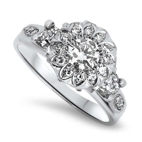 0.87ct Handmade Diamond Antique Cluster Ring in 18k White Gold