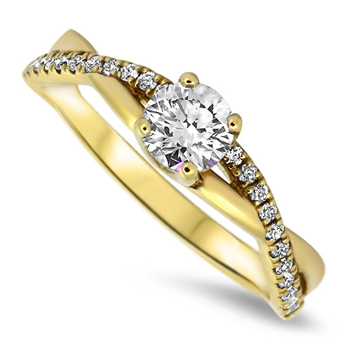 0.63ct  Diamond Ring with Round Brilliant Cut Diamonds in 18k Yellow Gold