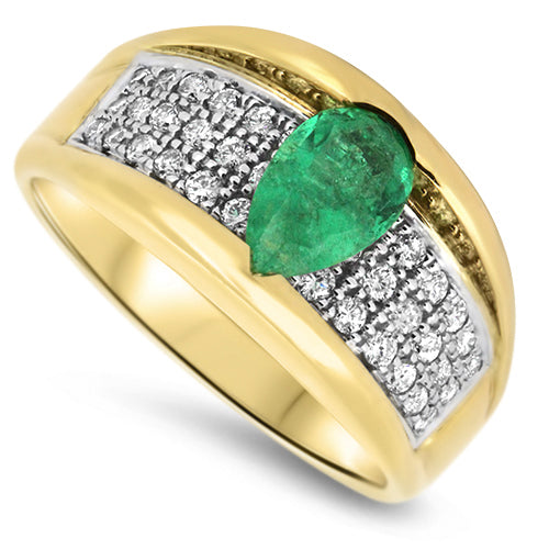1.85ct Emerald & Diamond Cluster Ring in 18k Yellow & White  Gold