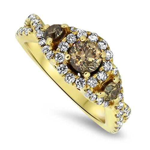 1.23ct Champagne Diamond Ring in 14k Yellow Gold