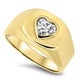 1.00ct Heart Shaped Diamond Mens Ring in 18ct Gold
