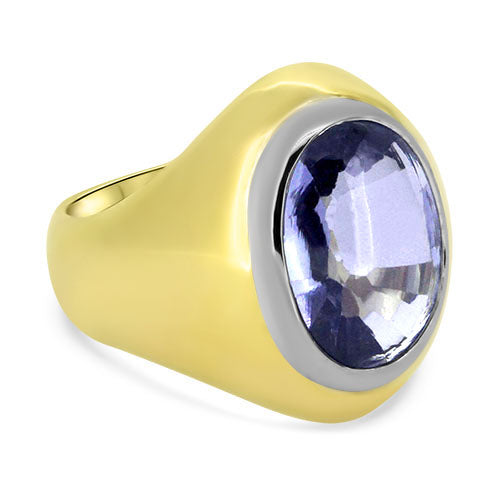 18k Yellow & White Gold Created Sapphire Mens Ring