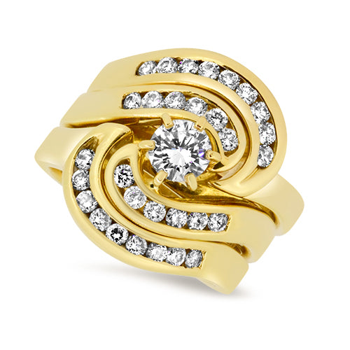 0.81ct Diamond 3 Ring Set in 18k Yellow Gold
