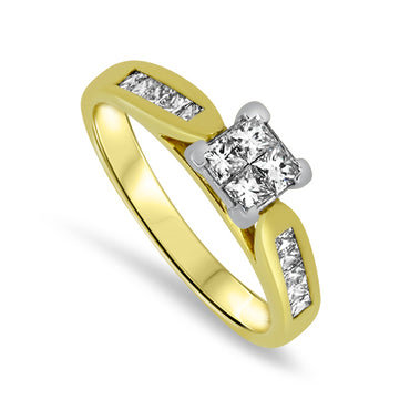 0.80ct Diamond Princess Cut Ring in 18k Yellow Gold
