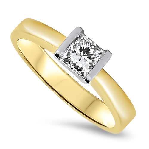 0.70ct Diamond Solitaire Ring 18k Yellow & White Gold