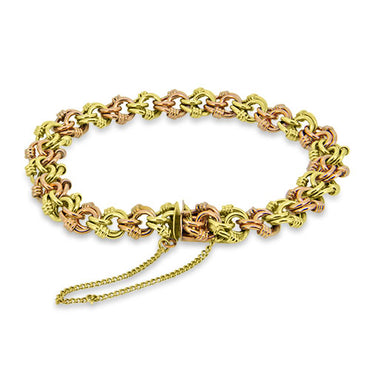 9ct Gold Yellow and Rose Gold Patterned Bracelet With Safety Chain