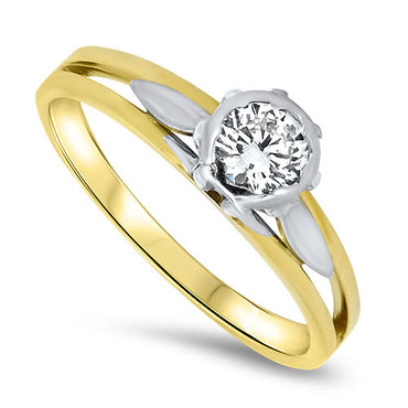 18ct White and Yellow Gold Solitaire Ring