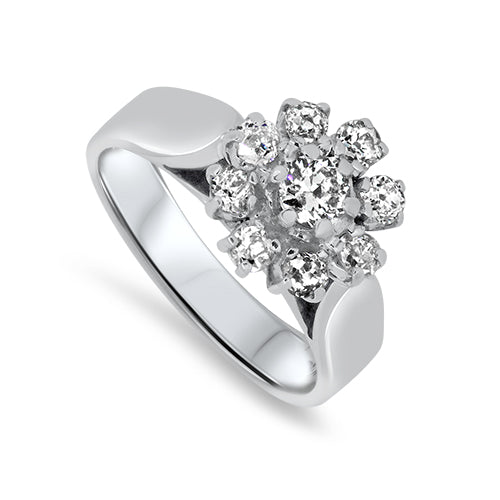 0.88ct Diamond Cluster Ring in 18k White Gold