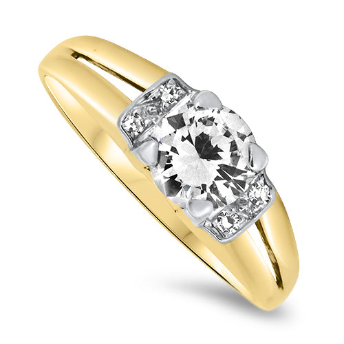 0.76ct Diamond Ring in 18k Yellow & White Gold