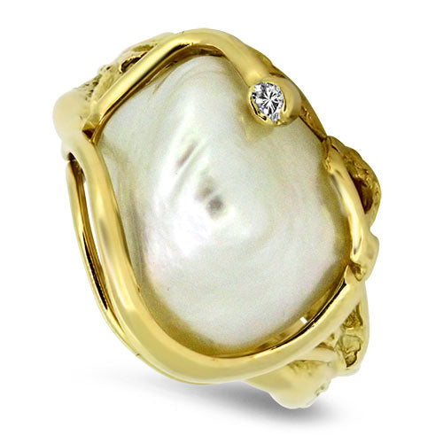 18ct Yellow Gold South Sea Pearl & Diamond Ring