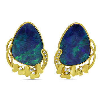 18ct Yellow Gold Opal and Diamond Earrings