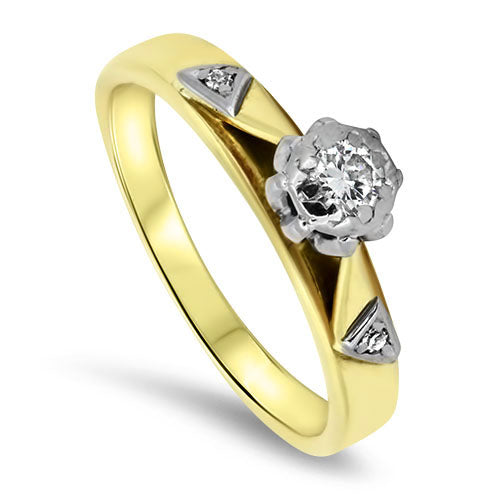 18ct Yellow & White Gold 3 Stone Diamond Ring