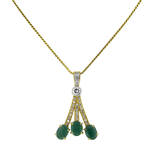 3.95ct Natural Emerald and Diamond Handmade Pendant on an 18ct Yellow Gold Necklace
