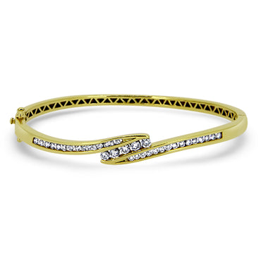 18ct Gold 35 Stone Diamond Bangle