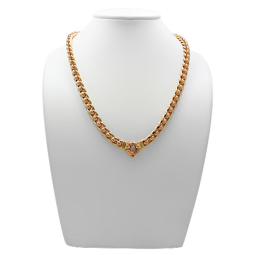 9ct Gold LAdies Two Tone Roller Link Necklace