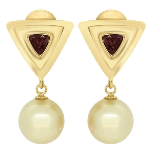 South Sea Pearl and Tourmaline Drop Earrings in 18ct Gold