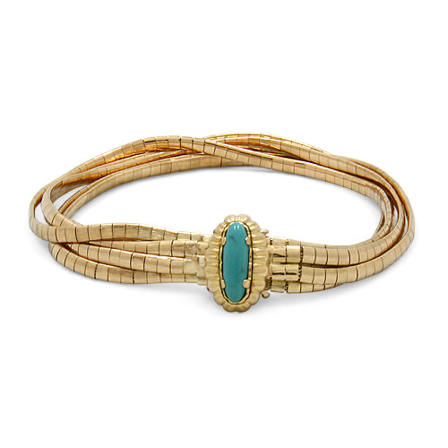 18ct Gold Solid Bracelet with a Turquoise Clasp