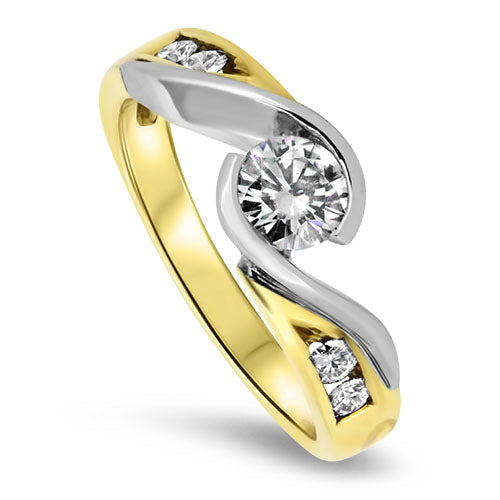 18ct Yellow Gold Synthetic Moissanite Ring