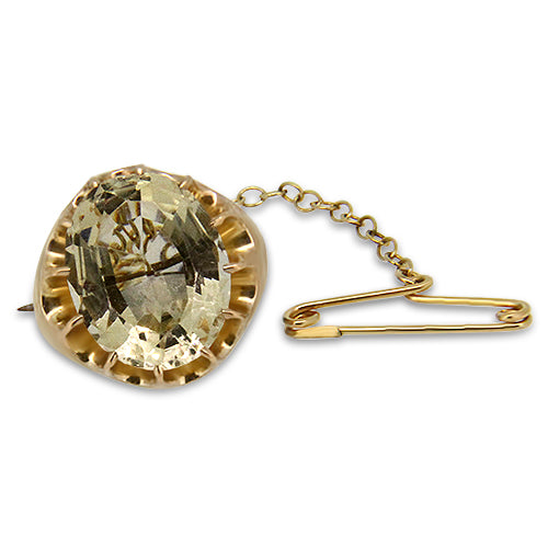 14k Yellow Gold Lemon Quartz Brooch with Safety Pin